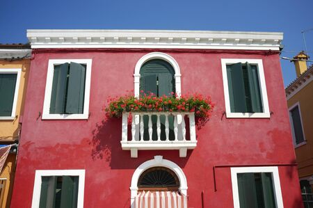Colourful house on Burano island. Burano is an island in the Venetian Lagoon, northern Italy Stock Photo - 9898264