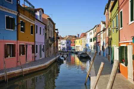 Burano is situated 7 kilometers from Venice. Burano is known for its small, brightly-painted houses. Stock Photo - 9898266