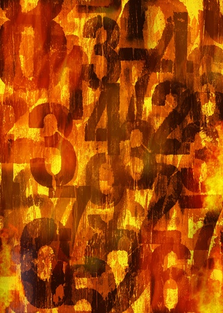 Grunge worn numbers in flames, image manipulation background texture. Stock Photo - 9898269