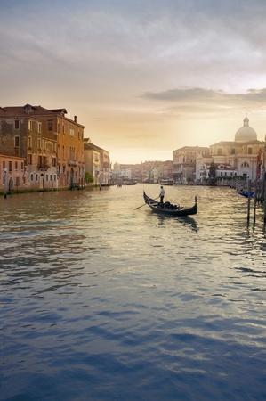 gondola: Gondola in evening light at Venice, Italy