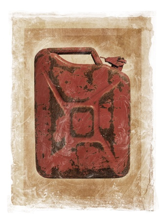 photomanipulation: Grunge dirty photomanipulation of a jerry can fuel container.
