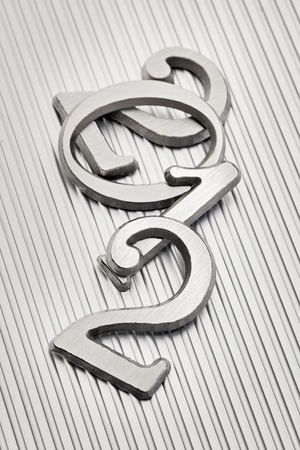 Metallic letters that can be used for number 2012 on metallic background. photo