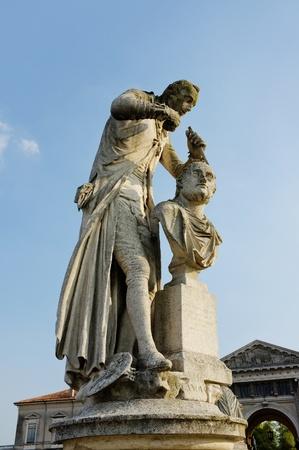 sculpting: The statue of Antonio Canova (1757-1822) who was an Italian sculptor from the Republic of Venice. The statue is located in Prato della Valle, Padua, Veneto, Italy