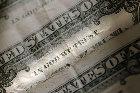 in god we trust: In God We Trust on an old american one dollar bill.