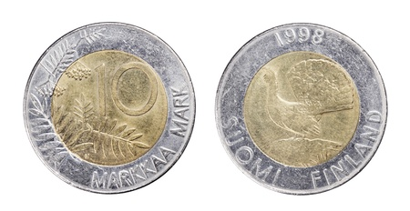 finnish markka: Finnish 10 Markka  Marks coin from 1998 isolated on white.