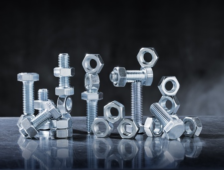 bolts and nuts: Still Life with Steel Bolts and Nuts. Stock Photo