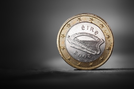 Irish one euro coin showing the national backside. Short depth-of-field. Stock Photo - 10737624