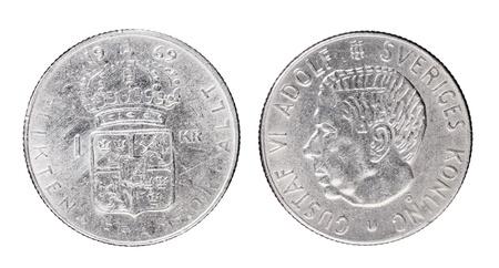 gustaf: Swedish 1 Krona aka Crown coin from 1969 with King Gustaf VI Adolf of Sweden.