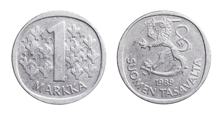 Finnish 1 Markka (FIM) coin from 1989. This type of coin was struck between 1964 and 1993. The Finnish markka was the currency  of Finland  from 1860 until 28 February 2002, when it ceased to be legal tender because of the introduction of Euro.