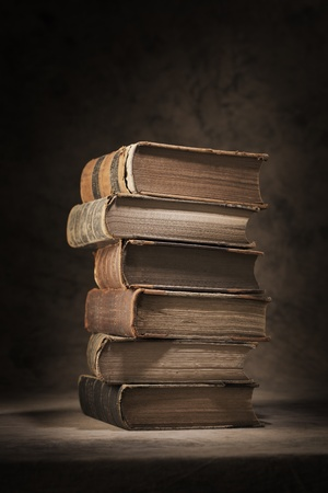 tattered: A Stack of old worn and tattered books. Stock Photo