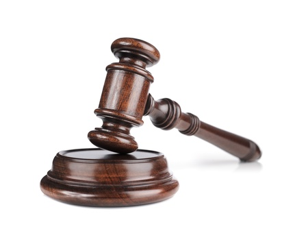 court: High quality mahogany wooden gavel with a sound block. Stock Photo