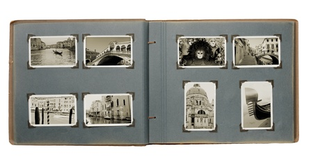 rialto bridge: Old photo album with (new) photos from Venice, Italy. Stock Photo