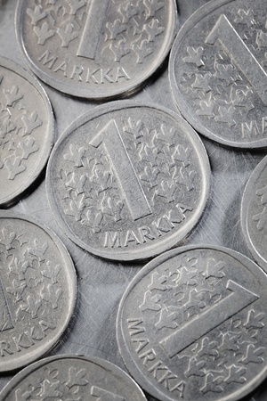 Finnish 1 Markka coins. This type of coin was struck and used between 1964 and 1993.