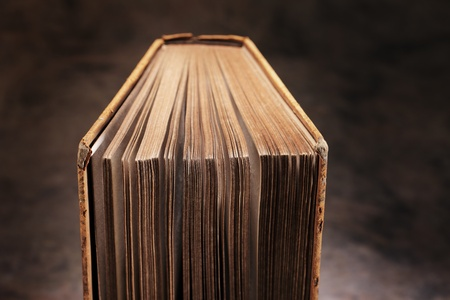 yellowed: Old book with yellowed pages. Stock Photo