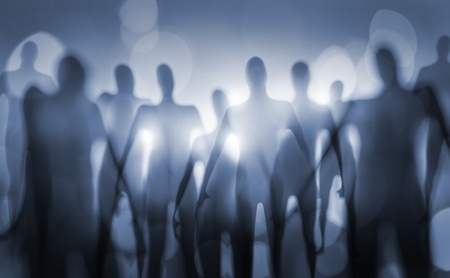 beings: Blurry image of nightmarish alien beings.
