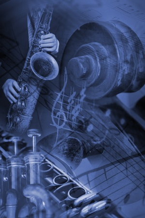 Image manipulation with musical instruments and notes. photo
