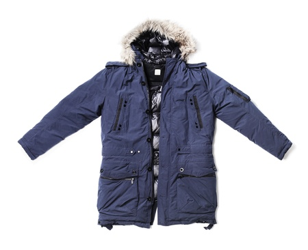 Mens blue down lined winter parka isolated on white with natural shadows.