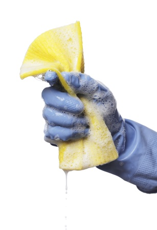 Man holding a soapy wet yellow cleaning cloth in his hand. Stock Photo - 12247503