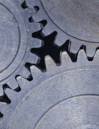 Three old cog gear wheels in closeup. Stock Photo - 12713416