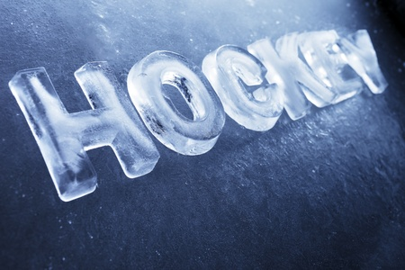 word cool: Word Hockey made of real ice letters on ice background. Stock Photo