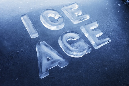 ice age: Words Ice Age made of real ice letters on ice background.