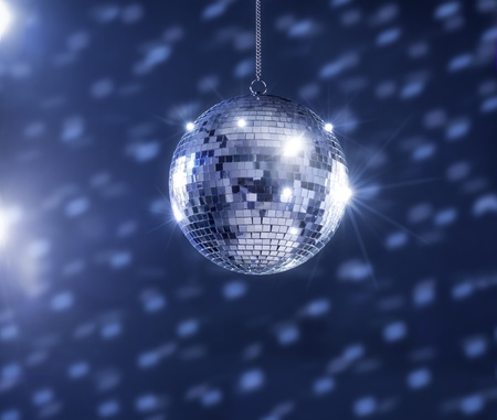 A mirror ball hanging from the ceiling.