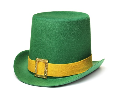 Cheap and cheerful st. patricks day carnival hat isolated on white with natural shadow. Zdjęcie Seryjne
