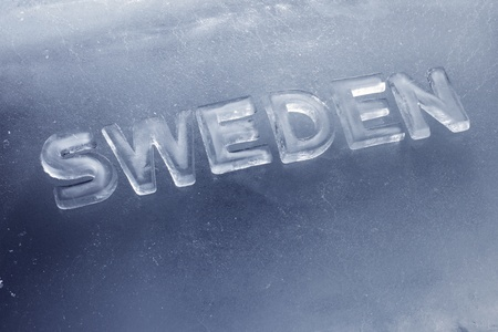 Word Sweden written with letters made of real ice. Stock Photo - 12956505
