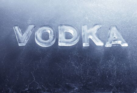 Word Vodka written with real ice letters. Stock Photo - 12956472