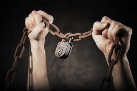 inseparable: Old rusty chain with old rusty padlock Stock Photo