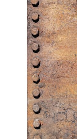 corrode: Old rusty metal with rusty bolts.