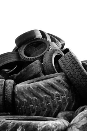 Black and white image of a Heap of old used tires. Stock Photo - 13471802