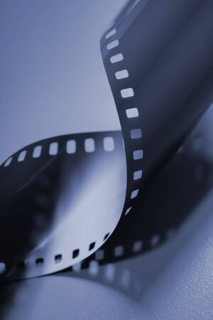 35mm: Blue monochromatic image of 35mm film.