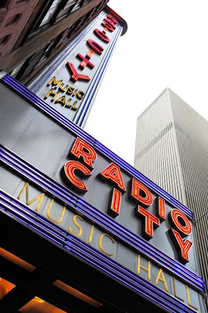 music venue: NEW YORK CITY, USA - JUNE 8  Radio City Music Hall is an entertainment venue located in Rockefeller Center in New York City  Its nickname is the Showplace of the Nation, and it was for a time the leading tourist destination in the city   June 8, 2012 in N