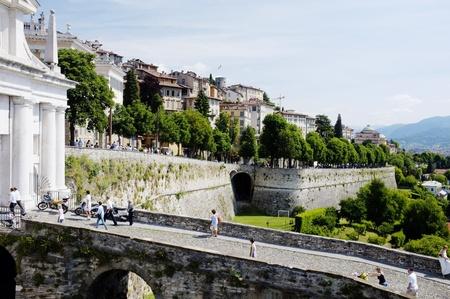 ERGAMO, LOMBARDY, ITALY - MAY 29: Scenery and the town wall of the Bergamo Citta Alta, May 29, 2011 in Bergamo, Lombardy, Italy Stock Photo - 14146125