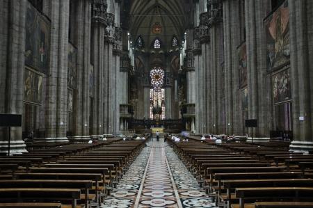 roomy: MILAN, LOMBARDY, ITALY - MAY 25: Interior of Milano Duomo Cathedral May 25, 2011 in Milan, Lombardy, Italy