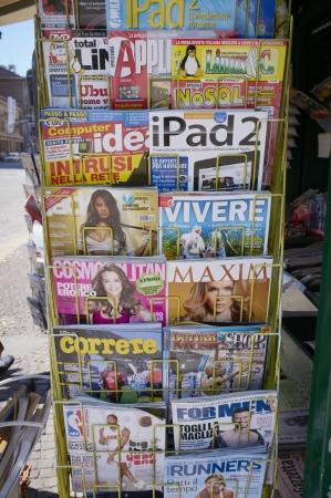 ipad2: Milan, Lombardy, Italy - May 28: Various Italian magazines for sale. May 28, 2011 in Milan, Lombardy, Italy Editorial