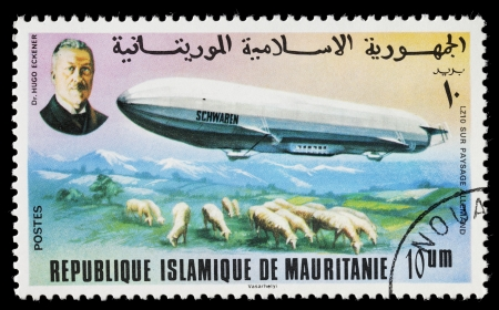 regarded: MAURITANIA - CIRCA 1976: Zeppelin stamp from Mauritania. LZ 10 Schwaben was a German rigid airship built by Luftschiffbau Zeppelin in 1911. It is regarded as the first commercially successful passenger-carrying aircraft. Circa 1976 in Mauritania