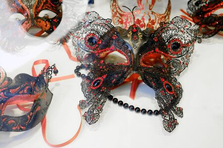 VENICE, VENETO, ITALY - MAY 26: Traditional hand-made Venetian Masks in a shop window. May 26, 2011 in Venice, Veneto, Italy