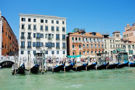 Venice, Italy - May 24: Scenery seen from Grand Canal with parked Gondolas. May 24, 2011 in Venice, Italy. Stock Photo - 14146119