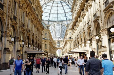 shopping centre: MILAN, LOMBARDY, ITALY - MAY 28: Interior of Galleria Vittorio Emanuele II shopping centre. May 28, 2011 in Milan, Lombardy, Italy Editorial