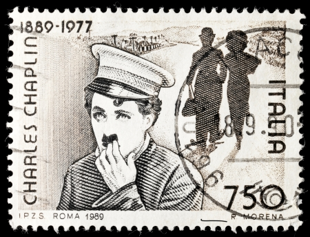 chaplin: ITALY - CIRCA 1989: Commemorative stamp celebrating 100 years from the birth of Chares Chaplin circa 1989 in Italy