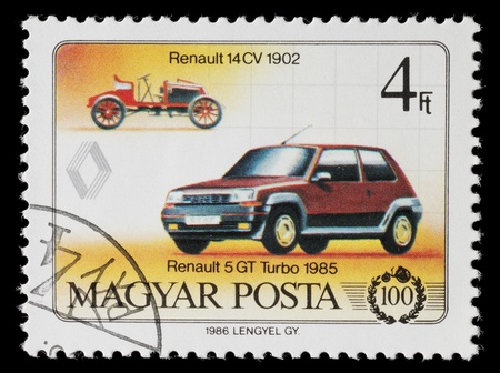 Hungary - Circa 1986: Hungarian commemorative stamp celebrating 100 years of the automobile. Renault 14CV and Renault 5 GT Turbo. circa 1986 in Hungary Editorial