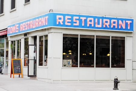NEW YORK CITY, USA - JUNE 10: Toms Restaurant. Its exterior was used as a stand-in for the fictional Monks CafŽ in the popular television sitcom Seinfeld. June 10, 2012 in New York City, USA