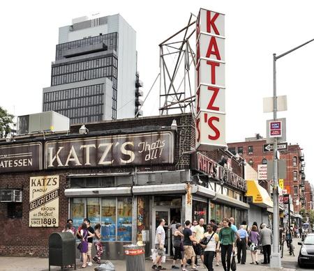 est: NEW YORK CITY, USA - JUNE 11: Katzs Delicatessen (est. 1888), a famous restaurant, known for its Pastrami sandwiches, located at 205 E. Houston Street. June 11, 2012 in New York City, USA