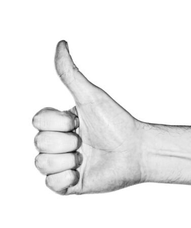 Black and white image of a hand making a  thumb up  gesture  Photographed with ring flash  Stock Photo - 14267737