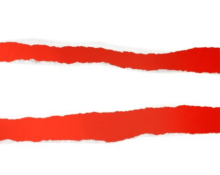 reveals: Torn white paper reveals red background  Stock Photo