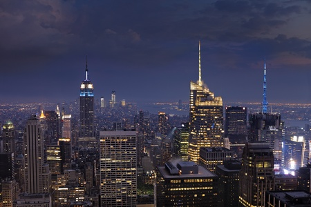 Manhattan at dusk  New York City, USA  Stock Photo