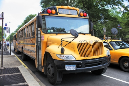 NEW YORK CITY, USA - JUNE 14: A New York City school bus. In the United States, school buses provide an estimated 10 billion student trips every year. June 14, 2012 in New York City, USA