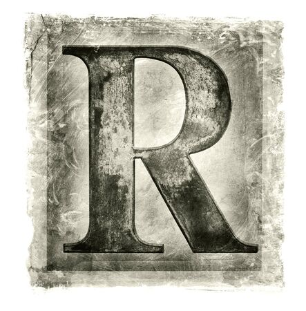 r image: Imagen de textura de una carta met�lico R. Foto de archivo